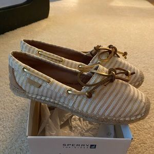 Gold striped Sperrys- Never Worn!